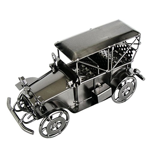 Vosarea Vintage Iron Car Model Handmade Classic Vehicle Models Retro Handicraft Collectible Iron Art Sculpture Home Desk Workplace Office Decoration (Grey)