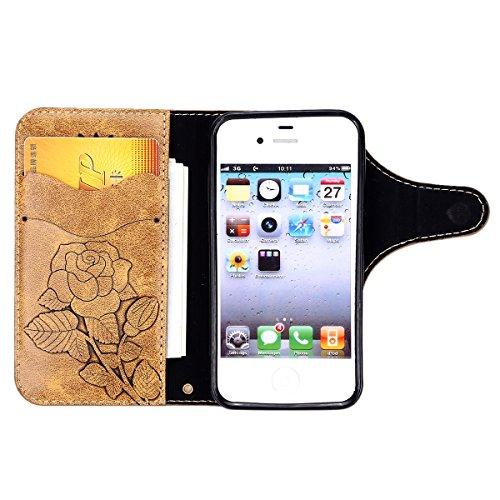 Custodia iPhone 4S,Custodia iPhone 4,ikasus® iPhone 4S 4 Custodia Cover [PU Leather] [Shock-Absorption] Protettiva Portafoglio Cover Custodia Con retro fibbia in pelle 3D rilievo in rilievo Roses flor Caffè