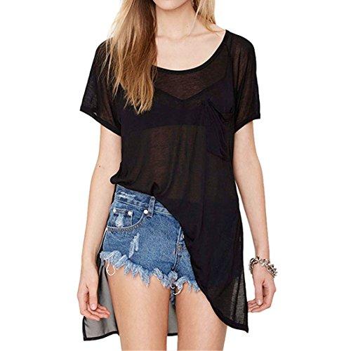 QIYUN.Z Noire Manches Courtes Solides Fente Laterale Femmes Estivale Decontractee Longues T-Shirts Hauts Noir