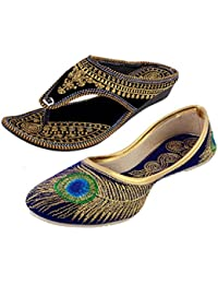 HUE Golden Black Velvet Slipper & Blue Embroidery Jutti Combo Pack Of Two For Women- Black & Blue
