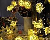 Uping Led Lichterkette 20er Batterienbetriebene Rosen für Party, Garten, Weihnachten, Halloween, Hochzeit, Beleuchtung Deko in Innenbereich usw. 2.2M warm weiß