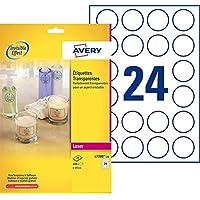 Avery 600 Étiquettes Autocollantes Rondes (24 par Feuille) - Ø40mm - Brillant - Transparent (L7780)
