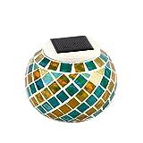 lzndeal Boule Mosaique Mosaic Globe Lampe Solaire Table Lampe Solaire Lumiere Mosaique Lumiere Mosaique Ambiance Lampe Table Bougie Changement de Couleur pour Fête Soiree Jardin Ami