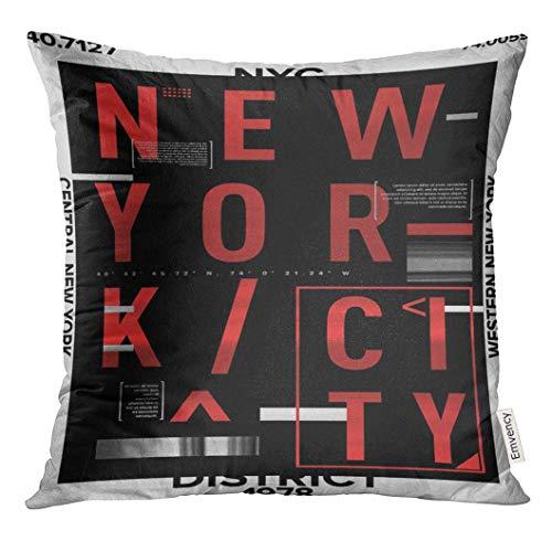 funny cat Breezat Kissenbezug Graffiti NYC New York Bezirk Lager Design T-Shirt städtischen dekorativen Kissenbezug Hauptdekoration Quadrat Kissenbezug,45x45 -