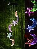 Sportstorm Solar Wind Chime Farbwechsel Solar LED Mobile Windspiel, Wasserdicht sechs Kolibri für Home/Party / Nacht/Garten / Festival Decor/Valentines Geschenk(Mond und Stern)