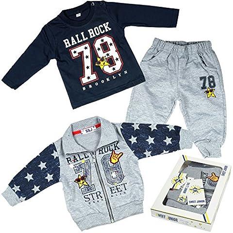 Kinder Baby Jungen Kleidung Paket Geschenk Set 3 tlg Sweat Jake Hose Lang Arm Shirt 21092, Farbe:Grau;Größe:6