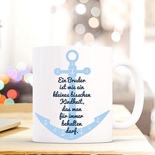 """Tasse Becher mit Anker & Spruch """"Bruder Kindheit…"""" Geschenk Kaffeebecher Spruchtasse mit Motto Zitat ts561 ilka parey wandtattoo-welt®"""