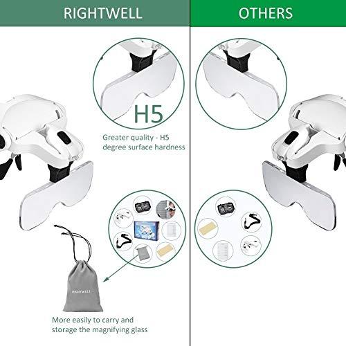 Rightwell Lupenbrille Led Licht Hände Frei Kopfband Lupen Lampe Stirnband Brille Lupen Verstellbare für Hobby,Denest,Elektriker,Juweliere,Nähen,Handwerk,Kosmetik und ältere Menschen-2er LEDs,1.0X, 1.5X, 2.0X, 2.5X, 3.5X - 2