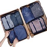 LANGRIA Kleidertaschen Set 6 Packtaschen Reisetaschen Wäschebeutel Schuhbeutel für Reise, Seesäcke, Handgepäck und Rucksäcke (Navy blau)