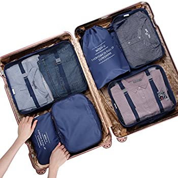 Langria 6 Sets Packing Cubes Foldable Travel Organiser Luggage Compression Pouches Suitcase Bag 3 Mesh Packing Cubes +1 X Packing Cube+1 X Drawstring Bag+1 X Flat Pouch (Navy Blue) 3