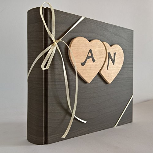 Album fotografico innamorati carta effetto legno + cuori legno e iniziali personalizzabili - Album Handmade Wedding Photo