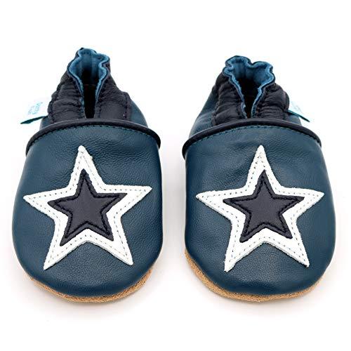 Dotty Fish weiche Leder Babyschuhe mit rutschfesten Wildledersohlen. 2-3 (25 EU). Navy Schuh mit Marine und weißem Stern Design. Jungen und Mädchen. Kleinkind Schuhe.