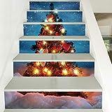 RENZHAO Treppenaufkleber 13 Stück Weihnachten Verkleiden Sich Kreative Treppenaufkleber Weihnachtsbaum PVC wasserdichte Wandaufkleber 18 * 100cm