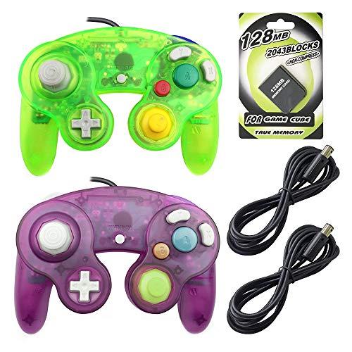 ame Cube Controller mit 2Extension Kabel und 128MB Speicherkarte für Nintendo WII Gamecube GC Konsole Clear Purple+Moss Green ()