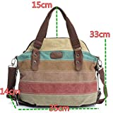 Women Canvas Stripe Handbag Shoulder Ladies Messenger Crossbody Tote Satchel Bag