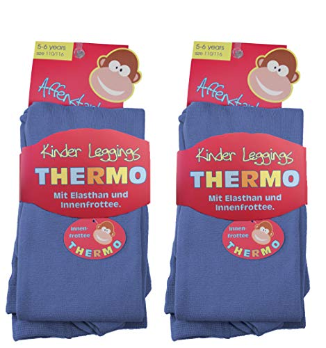 2 Stück Kinder Thermo Leggings 9-025/1 (110/116, 2x jeansblau) kinder-legging frottee leggings kinder leggings kinder mädchen thermoleggings jungen leggings kinder schwarz thermoleggings kinder