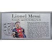 Lionel Messi Silver Targa Di Metallo Targhetta Per Autografato 2013 Barcellona maglia foto - Autografato Metallo