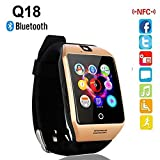 Bluetooth Smartwatch Phone Compatible with 3G, 4G Mobiles , Tablets with Camera TF SIM Card Slot for Android Samsung Galaxy S7 S6 S5 Note 5 HTC SONY LG Huawei Google Nexus Black By JOKIN
