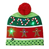 BulzEU Cute Winter Hats Knitted Beanies Hat Christmas LED Light Up Hat Beanie Knit Cap Winter Snow Hat Xmas Gift for Unisex Children Adults Kids Baby (Crutch)