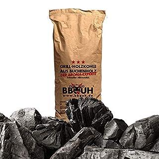 BBQUH Holzkohle Buche,Grillkohle aus Buchenholz,10kg,Patentierter Retorten Ofen,große Buchenholzkohle,Schadstoffarm und raucharm,aus FSC-zertifiziertem Rohmaterial,Steakhouse und Gastronomie Qualität