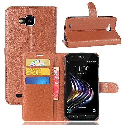 Tasche für LG X Venture Hülle, Ycloud PU Kunstleder Ledertasche Flip Cover Wallet Case Handyhülle mit Stand Function Credit Card Slots Bookstyle Purse Design braun