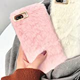 LAPOPNUT Coque iPhone 6 iPhone 6S Mignon Faux Lapin Fourrure Housse Super Luxury Souple Artificiel Moelleux Furry Etui Antichoc Dos Pare-Chocs Couverture, Rose