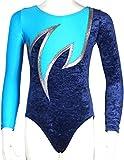 Langarm Mädchen Turnanzug Crash Samt ML110689 Farbe dunkelblau, türkis, silber, Größe 164