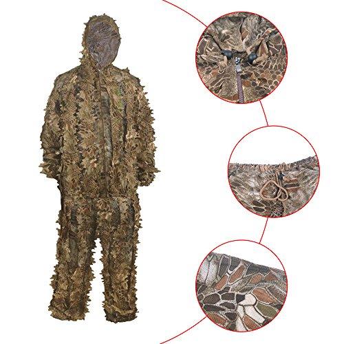 Eigenen Kostüm Machen Sie Armee Ihre - HYFAN Ghillie Anzüge 3D Blätter Wald Camouflage Kleidung Outdoor Army Military Camo Kleidung für Jungle Jagd, Paintball, Airsoft, Wildlife Fotografie (Sand)