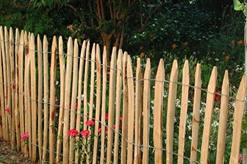 5 Stück Zaunlatte Kastanie 150 cm lang / gespalten – geschält – einseitig angespitzt / Kastanienholz / Stakete / Staketenzaun von Gartenwelt Riegelsberger