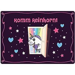"'Felpudo Unicornio lavable & ingeniosamente para Hogar Puerta Exterior & Interior Exterior & Interior Felpudo (""kommrein Cuerno divertido Multicolor 50x 70de unicornio Amor®"