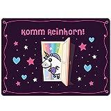 EinhornLiebe® Fußmatte Einhorn KommReinhorn Größe: 50 x 70 cm Coole Haustür Türmatte Indoor & Outdoor waschbar