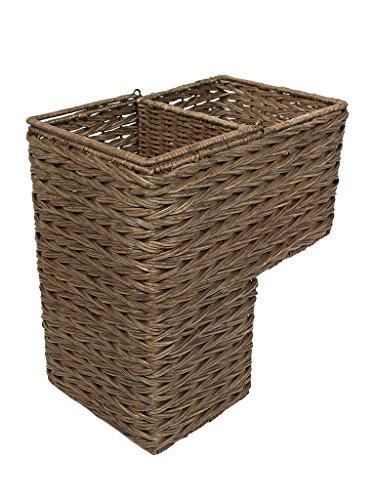Kouboo 1060100Pullover Weave handgewebte Wicker Treppe Schritt, Korbgeflecht, Kaffee BRAUN -