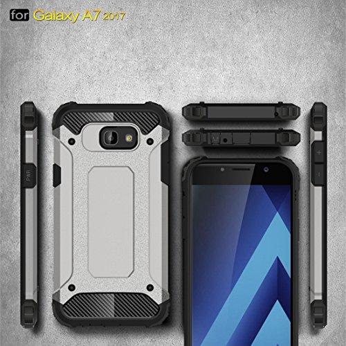 Tough Armor TPU + PC Kombi Hülle für Samsung Galaxy A7 (2017) / A720 by diebelleu ( Color : Dark blue ) Grey