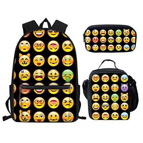 nzen Set 3-teilig Rucksack Rucksäcke und Lunchbaox Tasche mit Federmäppchen Halter für Grundschule Schwarz Emoji Einheitsgröße ()