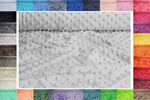Minkee Winky Grübchen Punkt stoff, dickflüssig flauschiger Plüschstoff mit Noppen Fleece 50 x 155 cm (Nr 8 Hellgrau) - Stoff Minky Grau