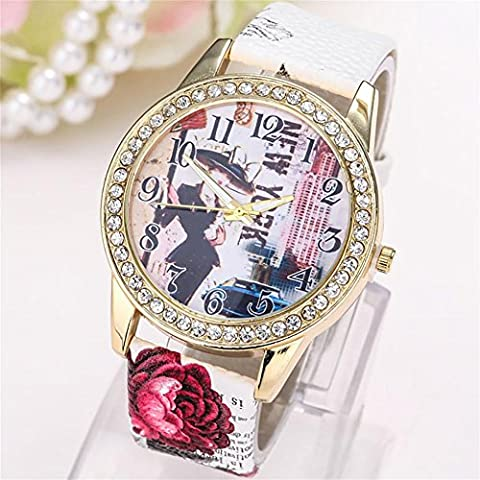 WW Moda moda casual diamante donna Dial Watch , 2- white