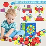 Lanbowo Wooden Blocks IQ Pattern Puzzle Box Montessori Giocattoli per Bambini Forme Dissection 130 Blocks 24 Designs