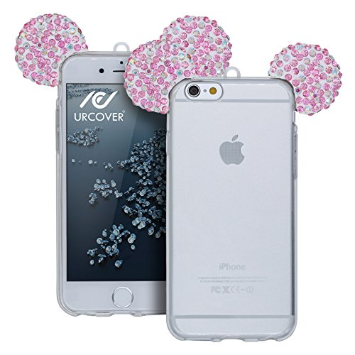 Urcover® Apple iPhone 6 Plus / 6s Plus Handyhülle Maus Ohren Bling Ear Schutzhülle Case Cover Etui Crystal Bär Maus Ohren Girl TPU Diamant Silber Rosa Bunt