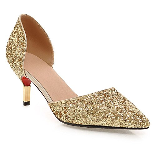 Kaloosh Women's Glitter Sexy Pointed Toe Kitten Heel Metallic Decoration D'Orsay and Two-Piece Shoes