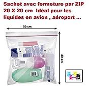 lot de 5 ex - Pochette Sachet avec fermeture par ZIP 20 X 20 cm Idéal pour les liquides en avion , aéroport