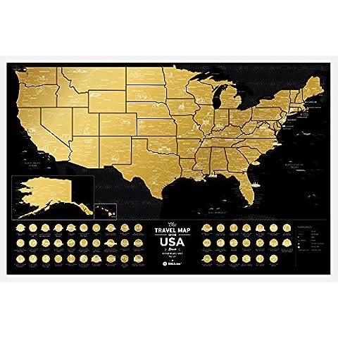 Premium Scratch Map Places Off uns–60x 40cm–Places I 've Been