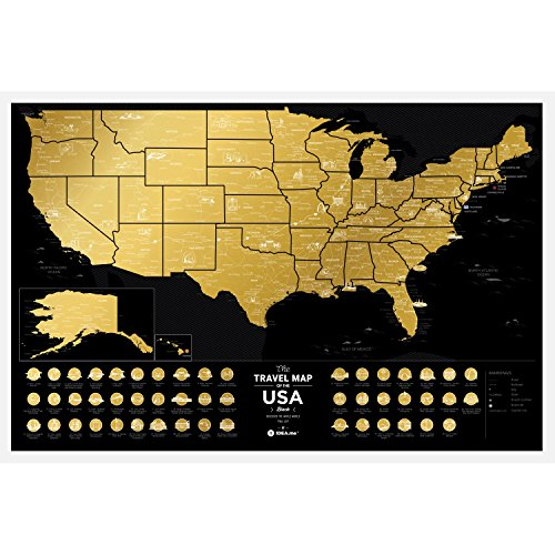 Premium Scratch Map Places Off uns – 60 x 40 cm – Places I 've Been USA Travel...