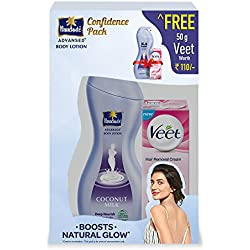 Parachute Advanced Nourish Body Lotion Deep, 400ml with Free Veet Hair Removing Cream, 50g