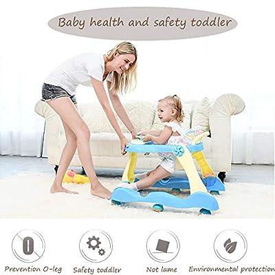 NOMEN Baby Walker Mit Sechs Rädern Multi-Funktions-Kind Anti-Rollover One-Touch-Folding Baby Walker Mädchen Jungen Maximale Belastung 25 Kg, Blau