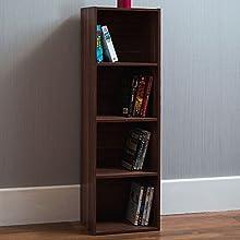 Vida Designs Oxford 4 Tier Cube Bookcase, Walnut Wooden Shelving Display Storage Unit Office Living Room Furniture