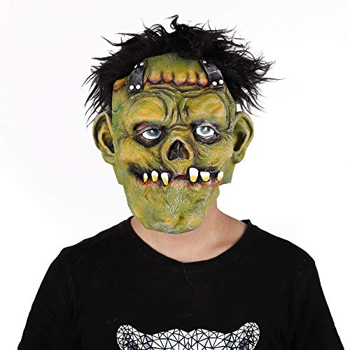 QAZXSW Halloween Latex Maske, Horror Rote Augen Grünes Gesicht Das Böse ZombieVerwitterung Zombie Maske für Halloween Cosplay Partei Kostüm Abendkleid Maske Anonymous MaskH4 (Bösen Guy Kostüm)