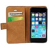 iPhone se hülle, iPhone 5s Holster hülle Bookstyle Handyhülle Premium PU Leder Tasche Flip Case Brieftasche Etui Handy Schutz Hülle für Apple iPhone 5 / 5s / se - Rot -