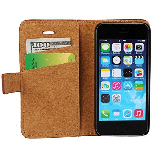 iPhone 5 hülle, iPhone se Holster hülle Flip nach oben und unten Handy hülle Premium PU Leder Tasche Flip Case Etui Handy Schutz Hülle für Apple iPhone 5 / 5s se - Rot Rot