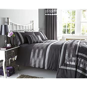 NEW CHARCOAL GREY PINTUCK DESIGNED BEDDING   MATCHING ITEMS AVAILABLE  (double Duvet Set)