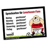 Büro-Abwehrschild Leverkusen | Schützt den Arbeitsplatz von FC Köln-, BMG- & Allen Fußball-Fans vor verirrten Leverkusen-Fans | Öffnungszeiten Sprechzeiten-, Eingangs- & Tür-Schild